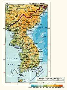 Корея физическая карта